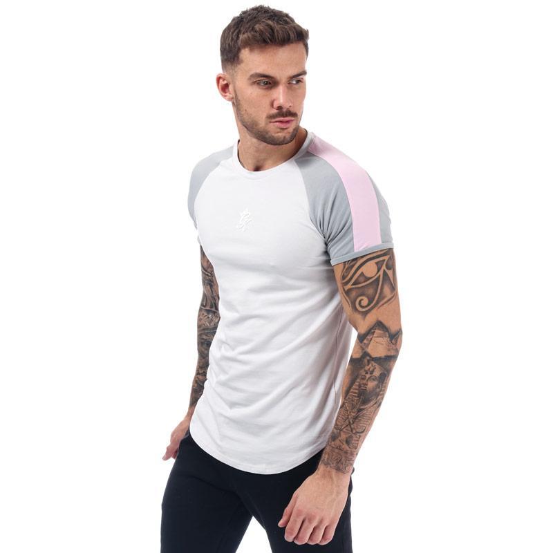 Tričko Gym King Mens Retro Tape T-Shirt Grey pink