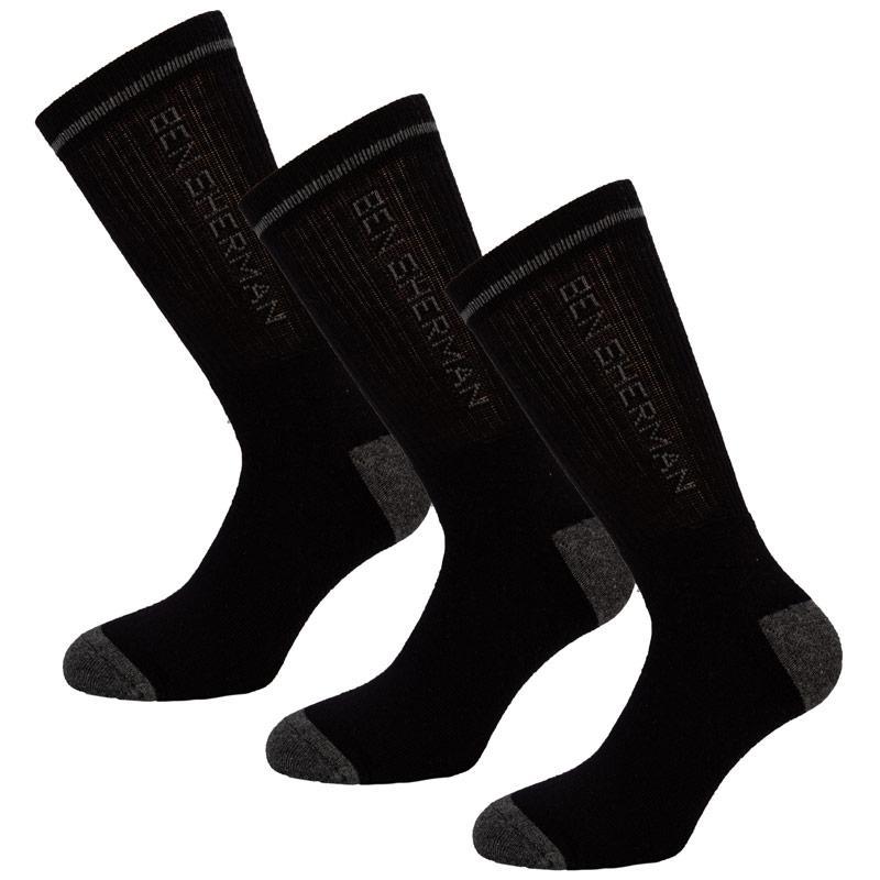 Ponožky Ben Sherman Mens 3 Pack Sport Socks Black