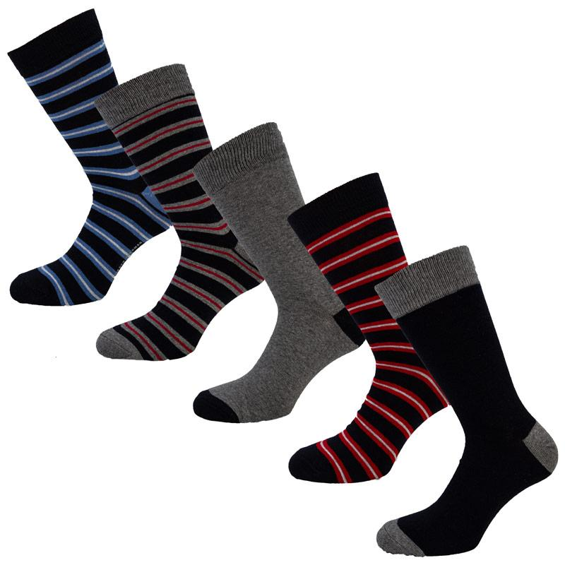 Ponožky Ben Sherman Mens Vulpine Gift 5 Pack Socks Navy Grey