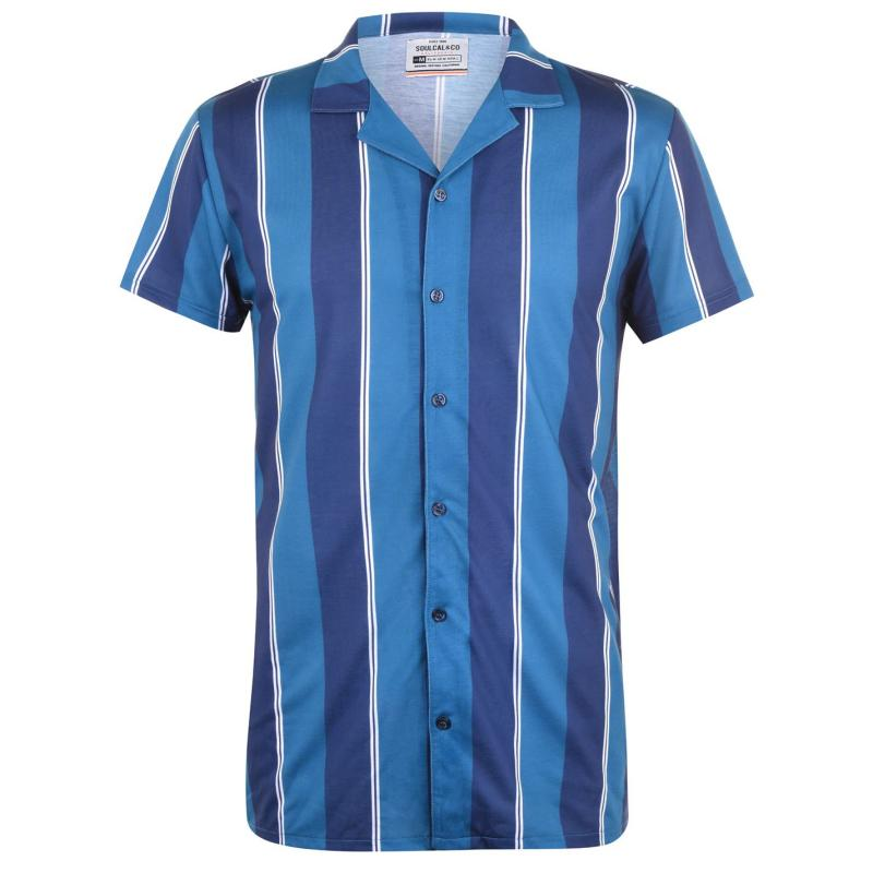 SoulCal Print Shirt Mens Nvy/Teal Stripe