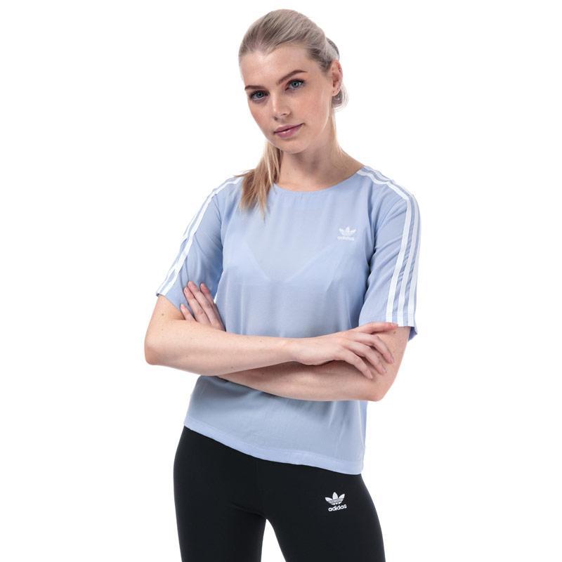 Adidas Originals Womens 3-Stripes T-Shirt Light Blue