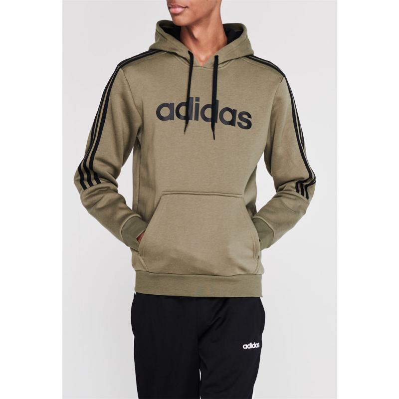 Mikina adidas 3 Stripes Logo Over The Head Hoody Mens Khaki/Black