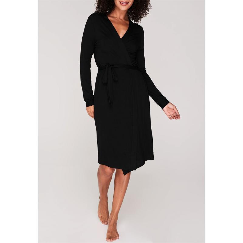 Pyžama Biba Lace Trim Robe Black
