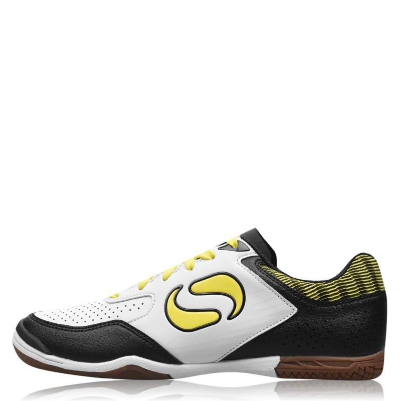 Sondico Pedibus Indoor Football Boots Junior Boys White/Yellow