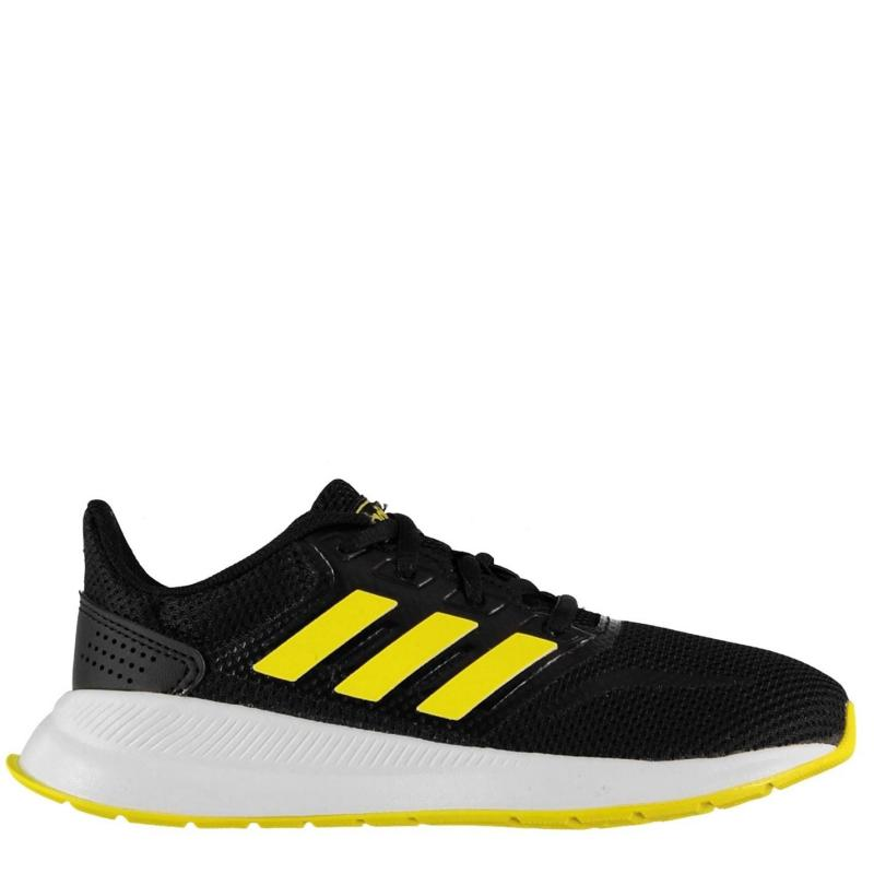 Boty adidas Falcon Childrens Trainers Blk/Yellow/Wht
