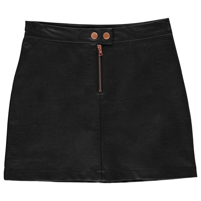Firetrap PU Mini Skirt Junior Girls Black Matt