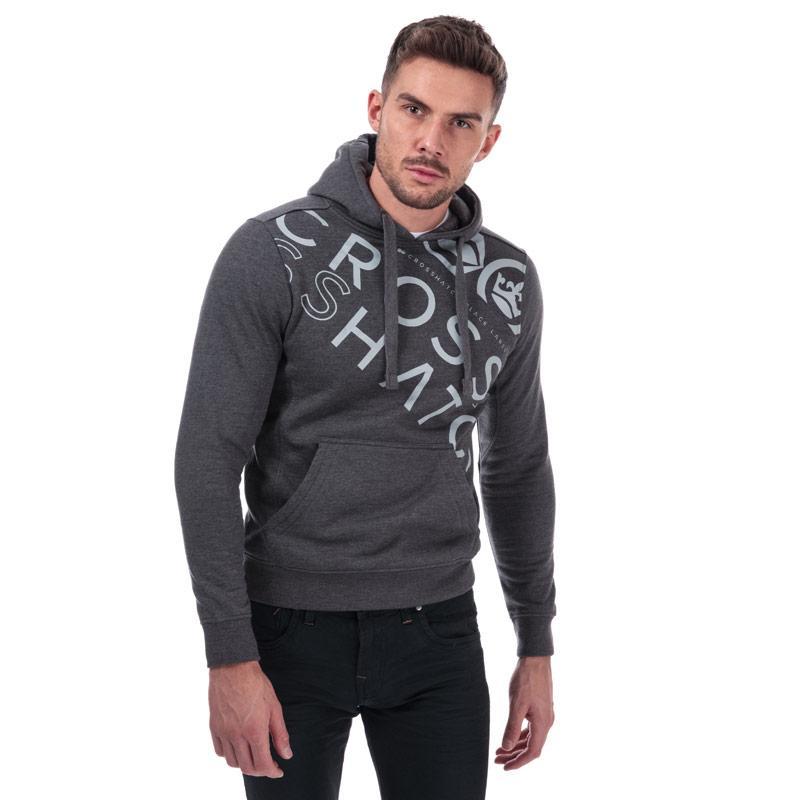 Mikina Crosshatch Black Label Mens Lapout Logo Hoody Charcoal
