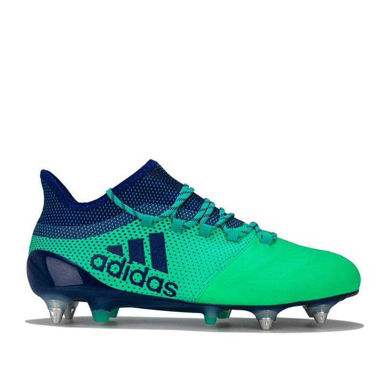 Adidas Mens X 17.1 SG Leather Football Boots Green blue