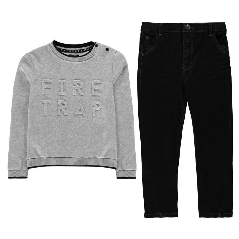 Firetrap 2 Pack Jumper Jeans Set Infant Boys Grey/Petrol
