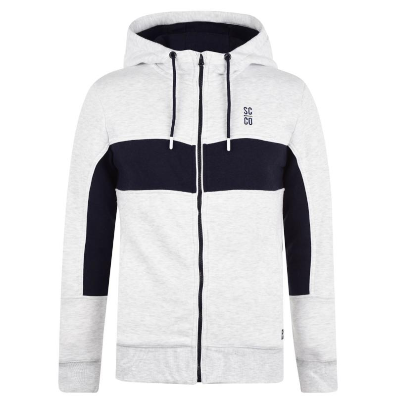Mikina SoulCal Cut and Sew Zip Hoodie Mens Grey M/Navy