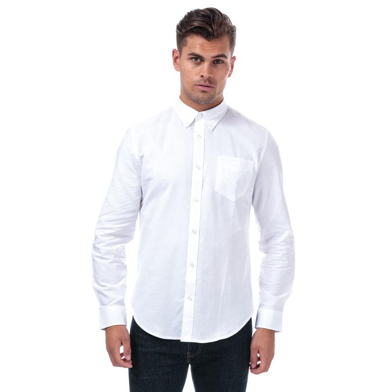 Ben Sherman Mens Long Sleeve Oxford Shirt White