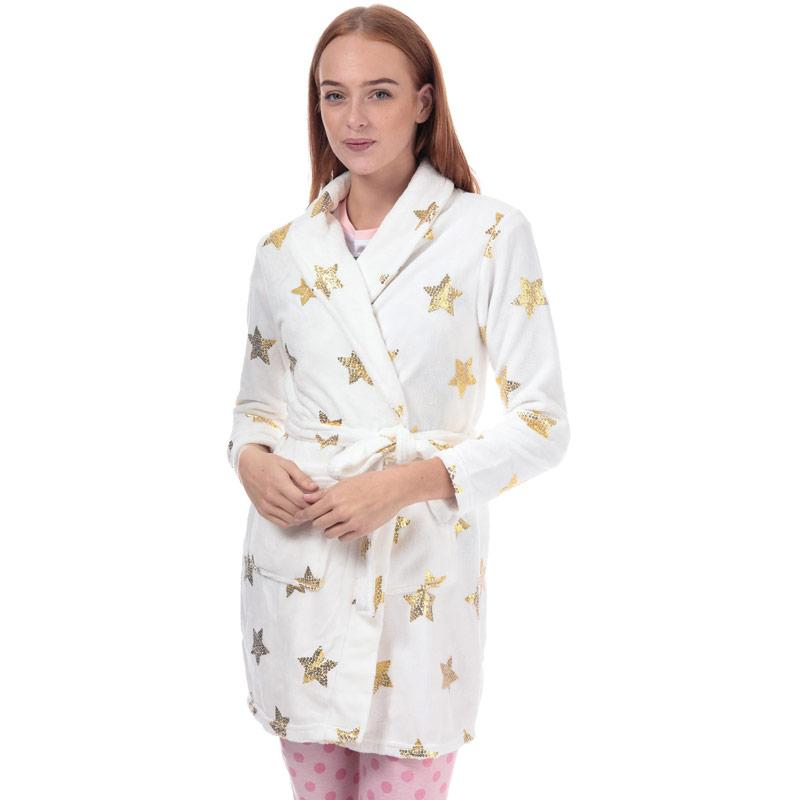 Pyžama Brave Soul Womens Sequin Star Print Dressing Gown White gold