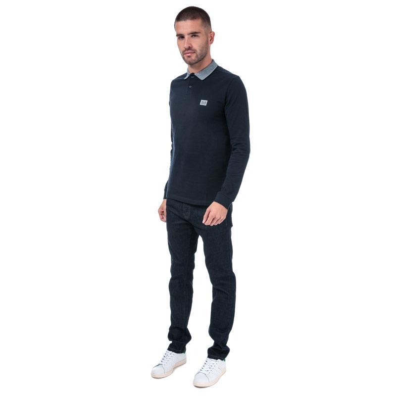 Weekend Offender Mens Tennants Checker Long Sleeve Polo Shirt Navy