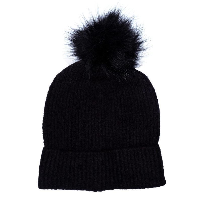 Only Womens Simma Pom Pom Beanie Hat Black