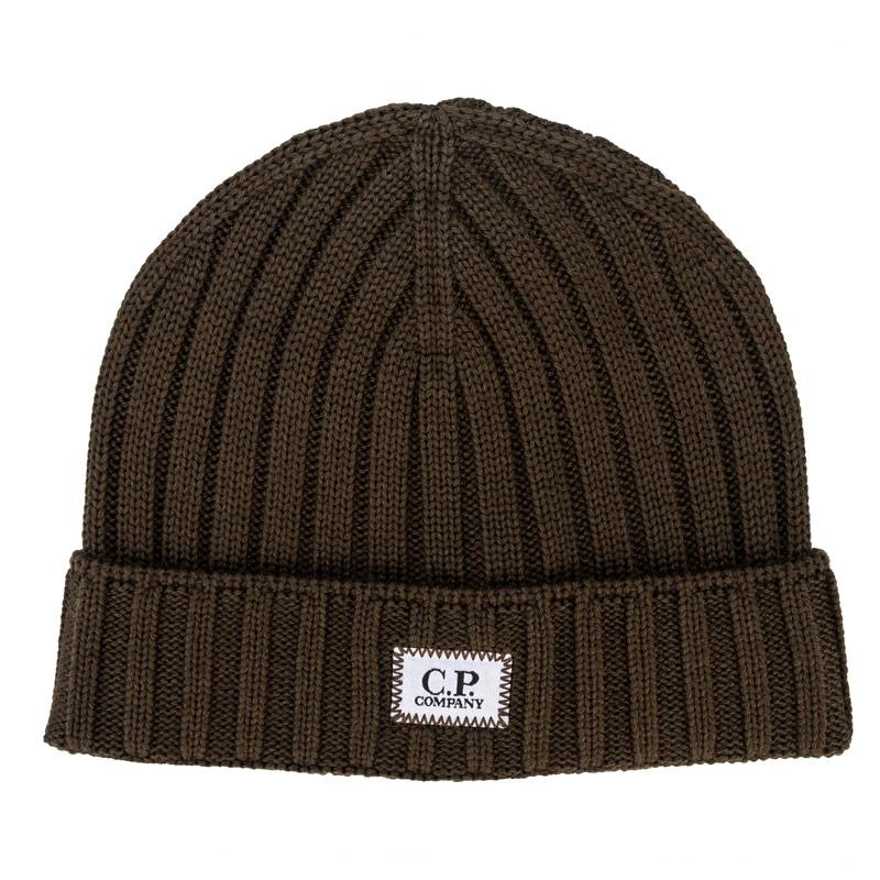 C.P. Company Mens Knitted Wool Beanie with Badge Logo Khaki
