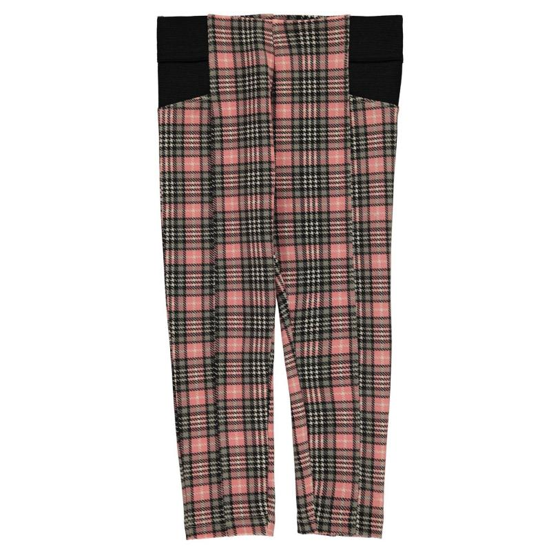 Crafted Sturdy Leggings Girls Pink Check