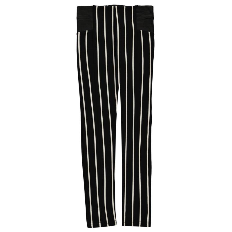 Crafted Sturdy Leggings Girls Blk Stripe