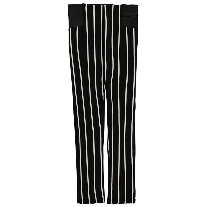 Crafted Sturdy Leggings Junior Girls Blk Stripe