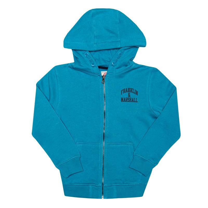 Mikina Franklin And Marshall Junior Boys Badge Logo Zip Hoody Blue