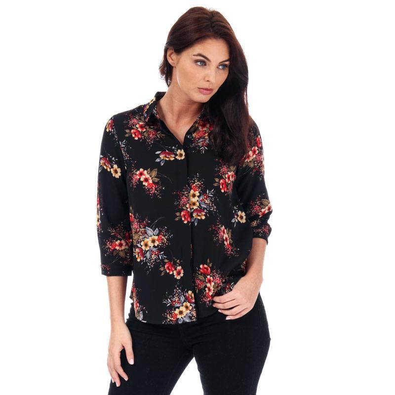 Brave Soul Womens Floral Print Blouse Black