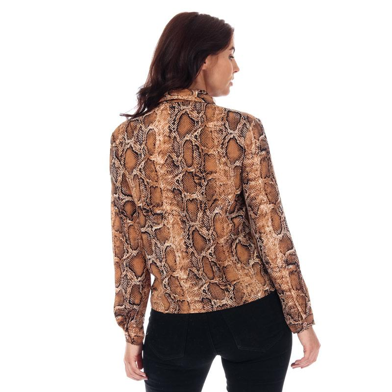 Brave Soul Womens Snake Print Tie Front Blouse Brown
