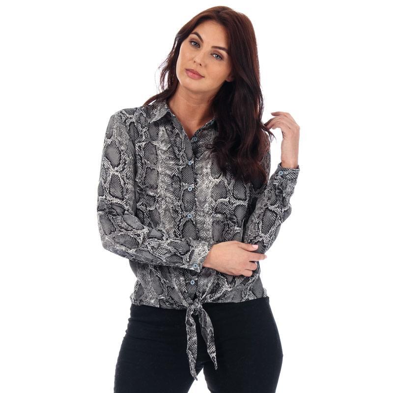Brave Soul Womens Snake Print Tie Front Blouse Black-White