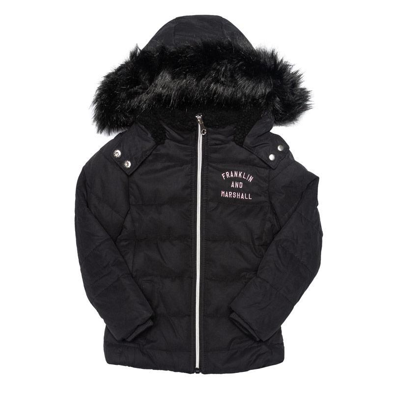 Franklin And Marshall Junior Girls Fur Hood Parker Jacket Black