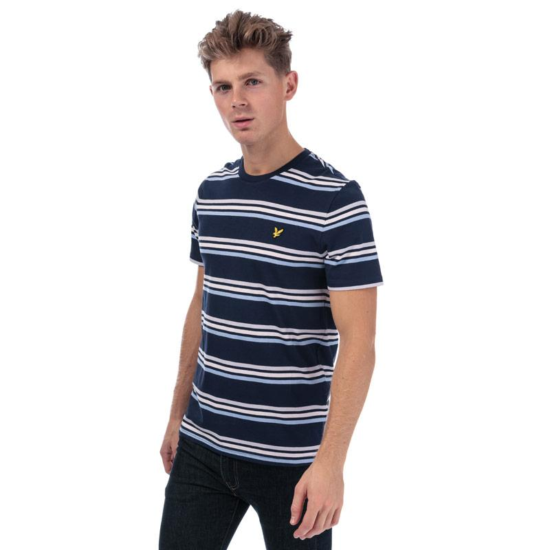 Tričko Lyle And Scott Mens Multi Stripe T-Shirt Navy
