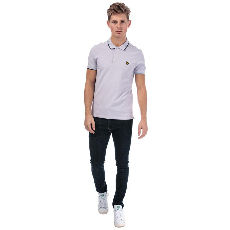 Lyle And Scott Mens Tipped Slim Stretch Polo Shirt Lilac