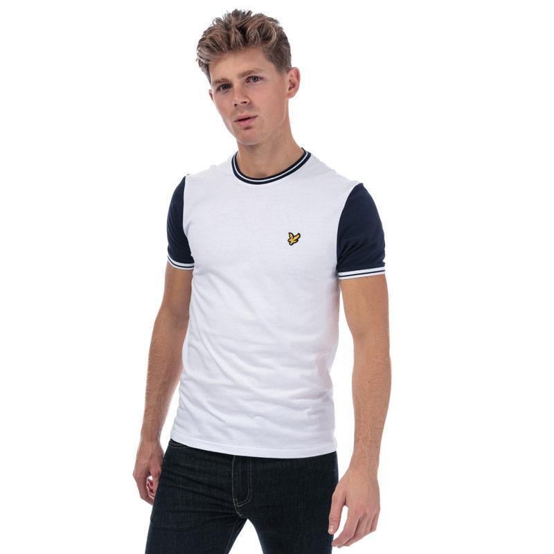 Tričko Lyle And Scott Mens Tipped T-Shirt White Navy