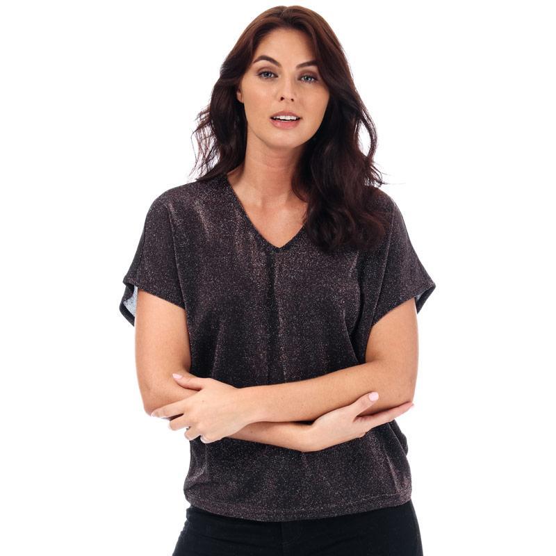 Vero Moda Womens Denise Metallic V-Neck Top Brown