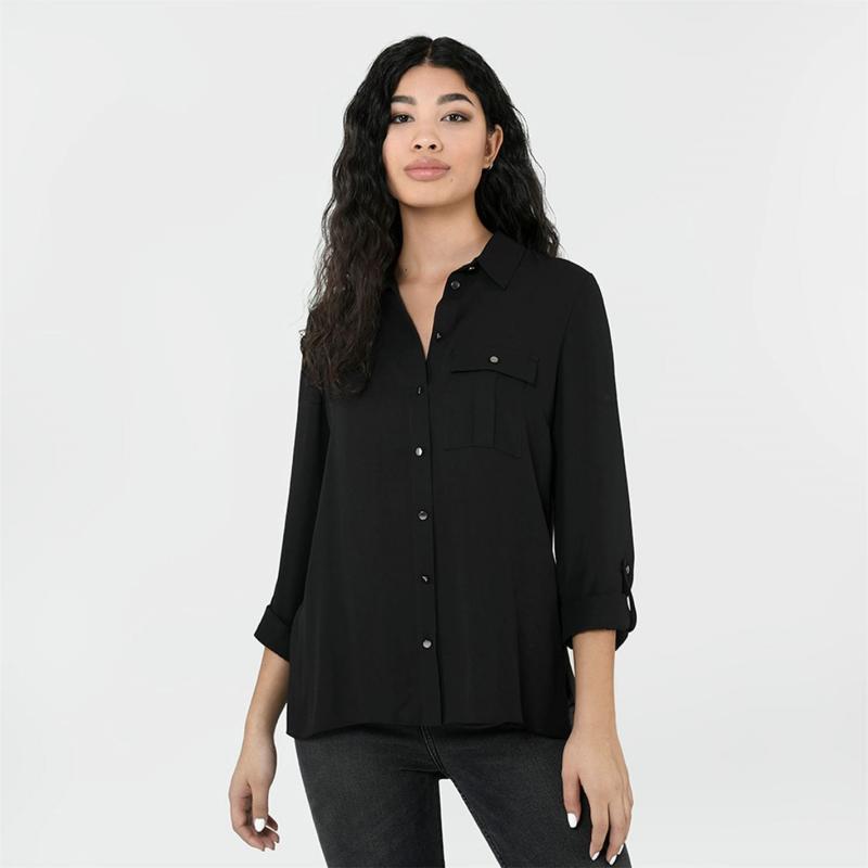 Košile Firetrap Long Sleeve Shirt Ladies Black