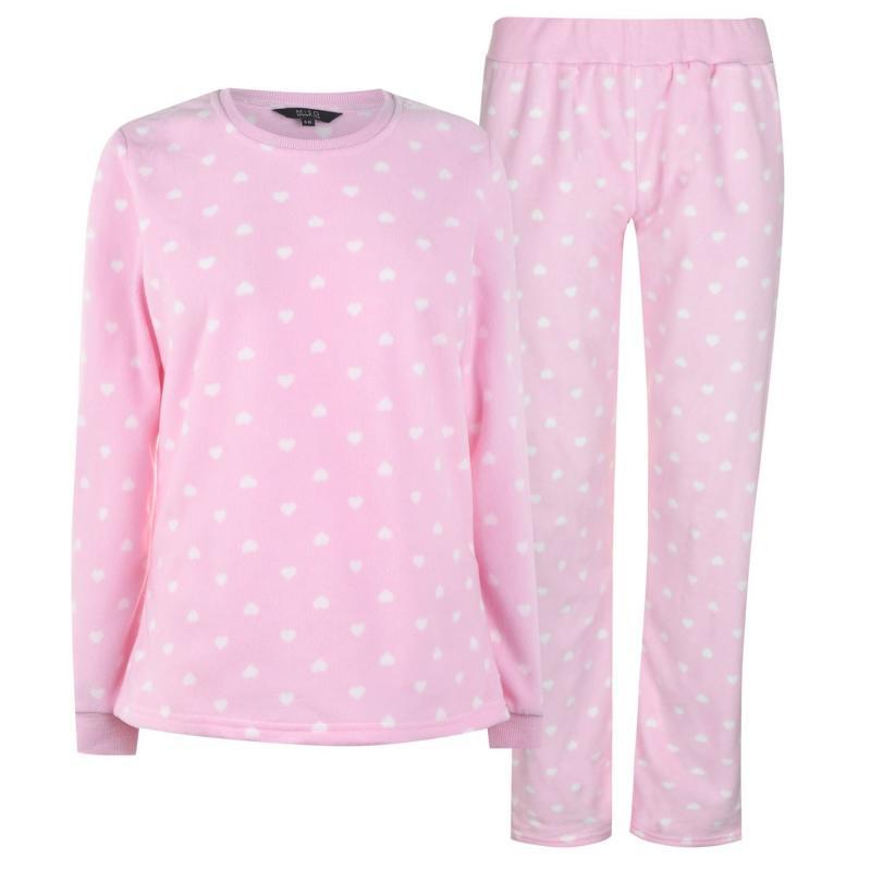 Pyžama Miso Micro Fleece Pyjama Set Ladies Pink Hearts