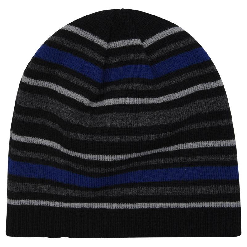 Lonsdale Striped Hat Mens Black/Charcoal
