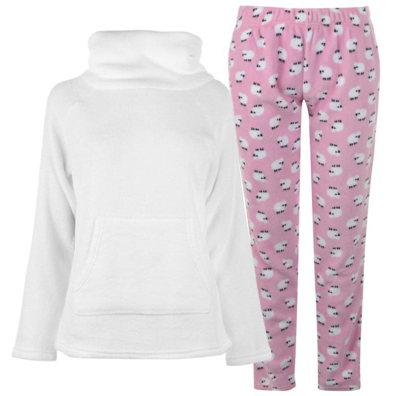 Pyžama Miso Cowl Fleece Pyjama Set Ladies White Sheep