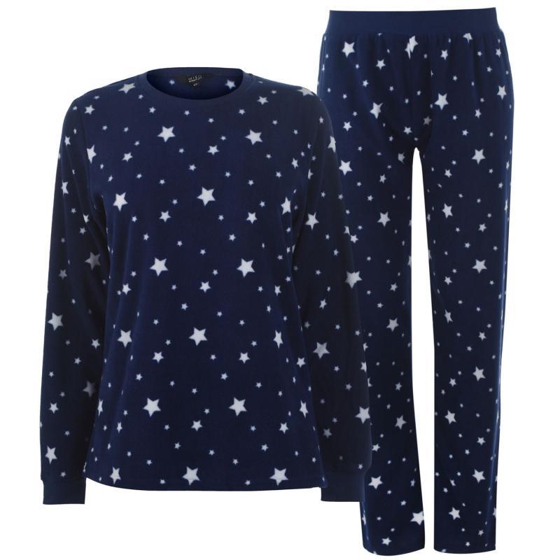Pyžama Miso Micro Fleece Pyjama Set Ladies Navy Stars