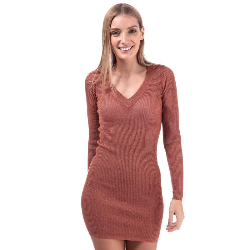 Šaty Brave Soul Womens Metallic V-Neck Jumper Dress Rose Gold