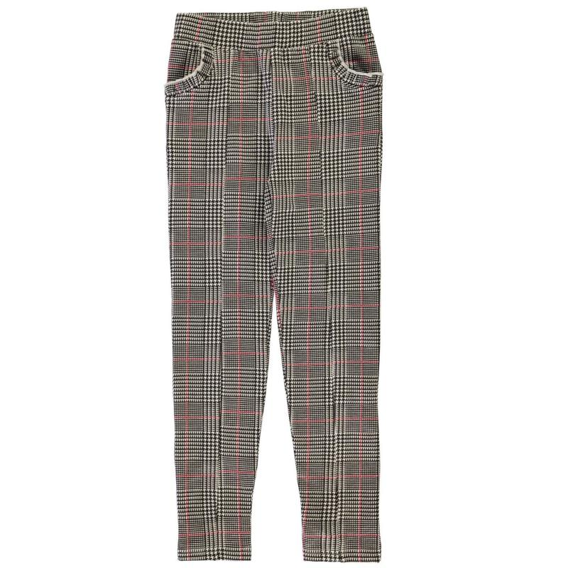 Crafted Ponte Trousers Infant Girls Black Check