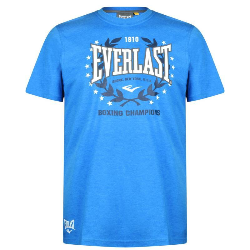 Tričko Everlast Long Line Crew T Shirt Mens Blue Marl