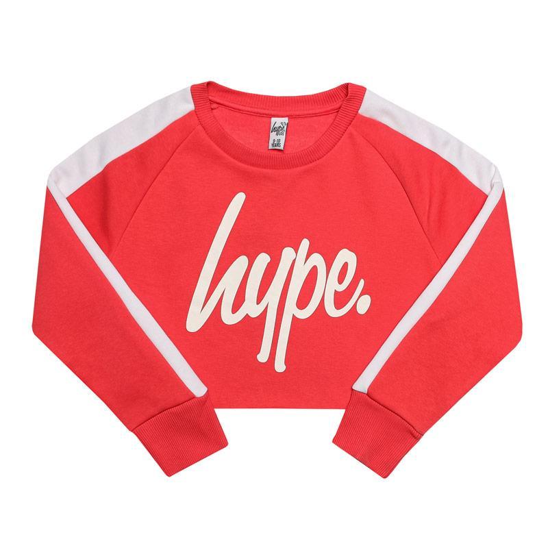 Hype Infant Girls Side Stripe Crop Crew Neck Pink white