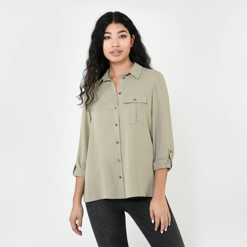 Košile Firetrap Long Sleeve Shirt Ladies Khaki