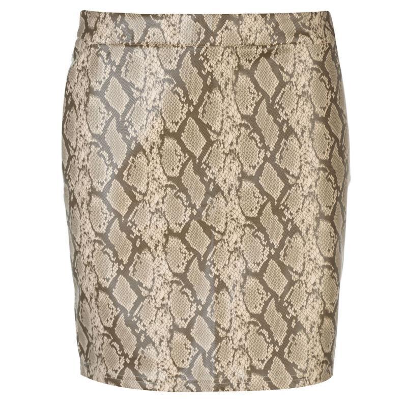 Sukně Noisy May Noisy PU Snake Mini Skirt BROWN SNAKE