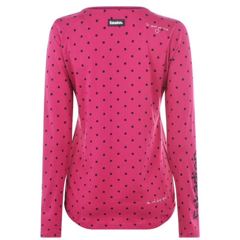 Eskadron Dana Long Sleeve T Shirt Ladies Fuchsia Dots