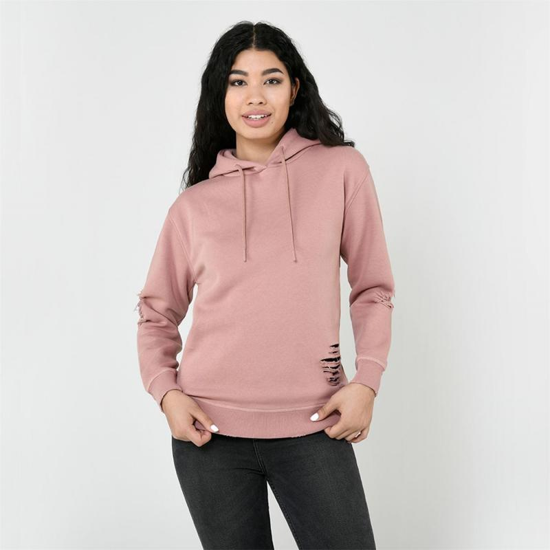 Mikina s kapucí Firetrap Distressed Hoodie Ladies Dusty Pink