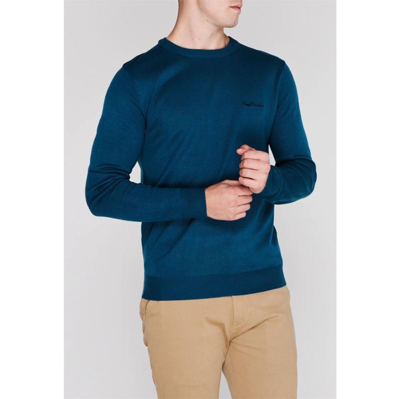 Pierre Cardin Crew Knit Jumper Mens Light Blue