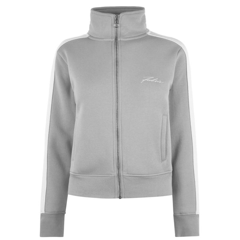 Mikina Fabric Piped Funnel Zip Jacket Ladies Grey