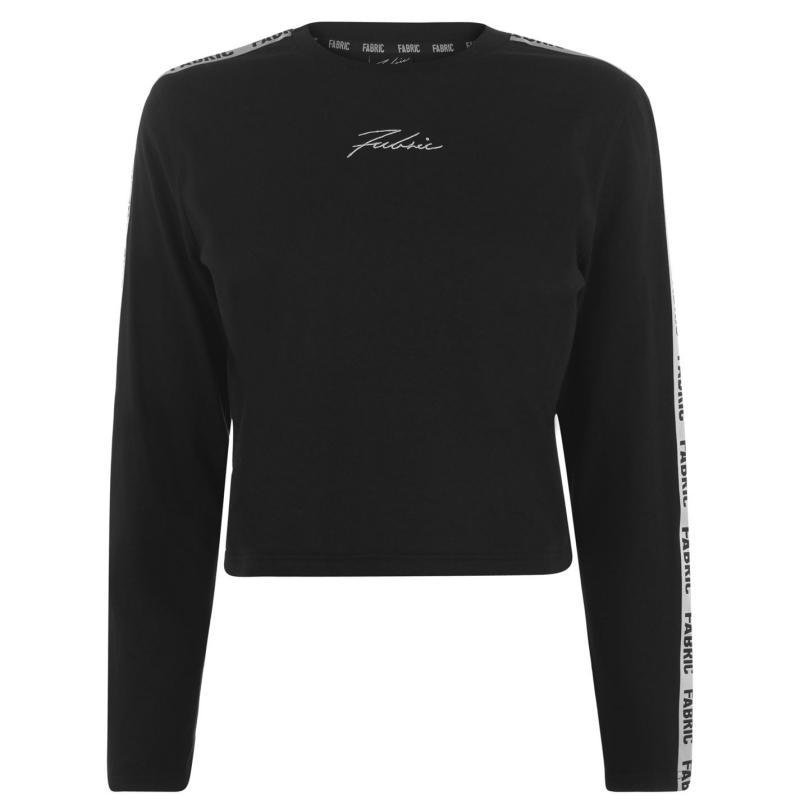 Tričko Fabric Tape Long Sleeve T Shirt Ladies Black