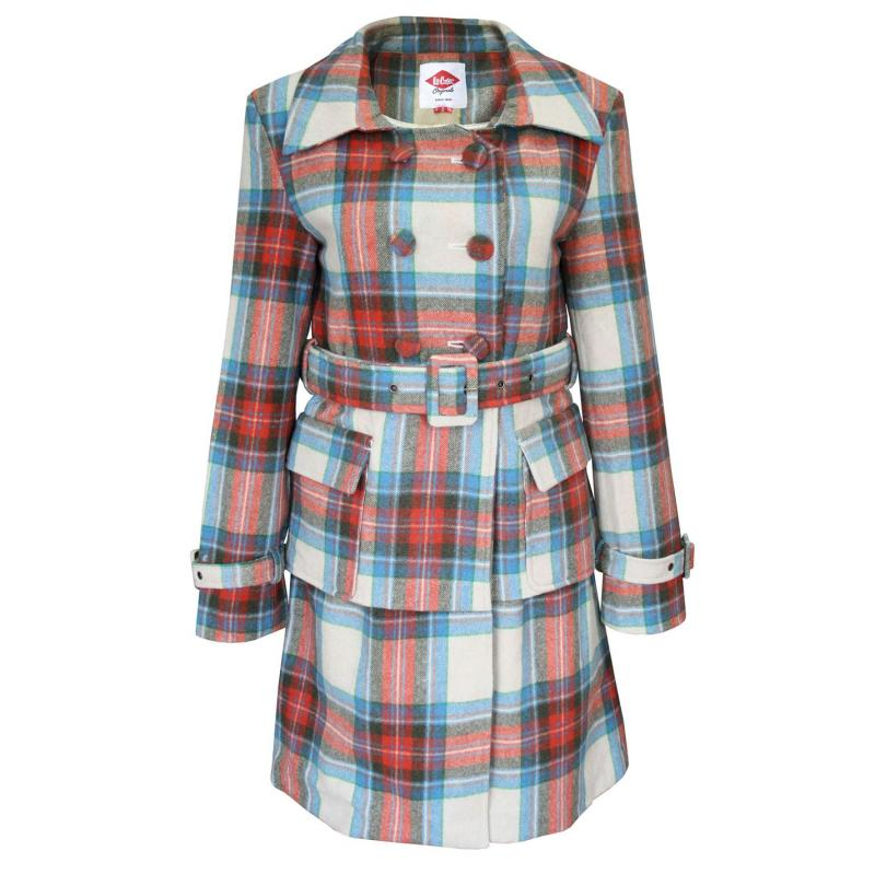 Lee Cooper Check Wool Coat Ladies Beige/Orange