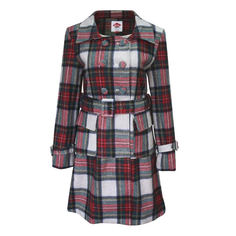Lee Cooper Check Wool Coat Ladies Beige/Red