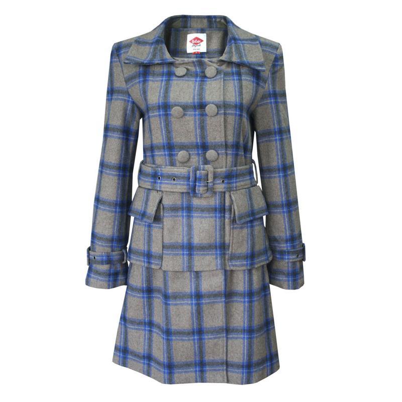 Lee Cooper Check Wool Coat Ladies Brown/Grey